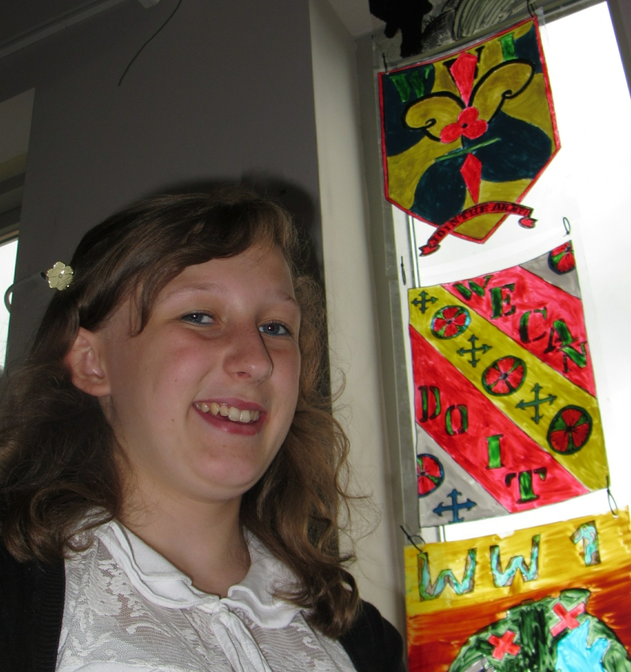 """Mollie Chapman. With their  """"stained glass."""" art work."""